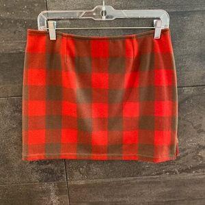 A.P.C.Paris red plaid wool; mini skirt size 38